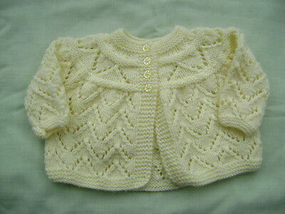 New Hand Knitted Lemon Lacy Matinee Jacket  0/3 months