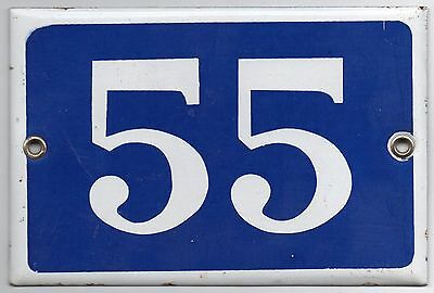 Old blue French house number 55 door gate plate plaque enamel metal sign steel