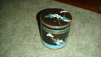 Vintage Chinese Cloisonne Enamel Turquoise & Black Round Tea Caddy Covered Jar
