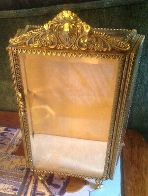 "Ormolu Jewelry Casket Box French Doll Display Cabinet 9"" StyleBuilt ? Gold  Case"