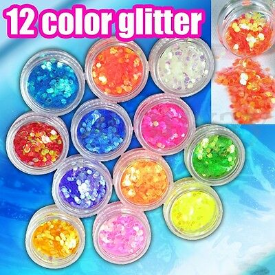 12 Pot Set Flake Chunky Glitter for Face Body Nails Eye Shadow Festivals Tattoo