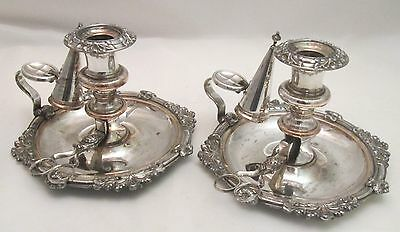 Fine Pair of Old Sheffield Plate Chamber Candlesticks with Snips & Snuffers 1820