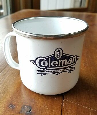 Coleman Sunshine Of The Night Enamel Ware Speckle Blue White Camping Cup Mug
