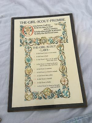"""Vintage Girl Scout Promise Plaque 1950s  NICE! 12"""" X 8"""""""