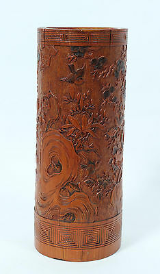 19th CENTURY CHINESE CARVED WOOD BRUSH POT APPRAISED $800-1200 ANTIQUES ROADSHOW