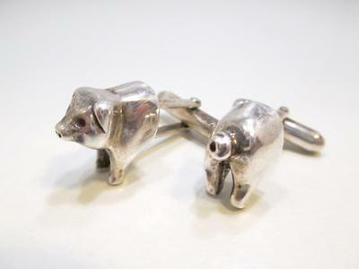 Vintage Art Deco Sterling Silver Men's Pig Head And Pig Tail Cuff Links