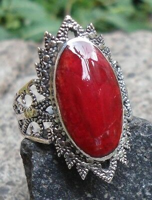 RC09-925 Sterling Silver Balinese Ring Carved w Red Coral Size 6 1/2