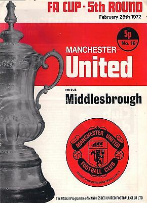 MANCHESTER UNITED v MIDDLESBROUGH 1971-72 FAC PROGRAMME