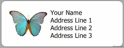 Blue Butterfly - 30 Personalized Photo Return Address Labels