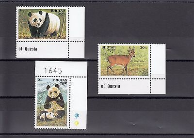 Timbre Stamp 3 Bhoutan Y&t#916A-916C Ours Bear Panda Neuf**/mnh-Mint 1990 ~A06