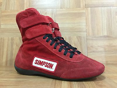 RARE🔥 Simpson Made In USA🇺🇸 Racing Gear Double Velcro Shoes Sz 9.5 Red Suede