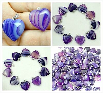 Unique purple Stripes Onyx Agate Love Heart Pendant Bead Gemstone necklace N1