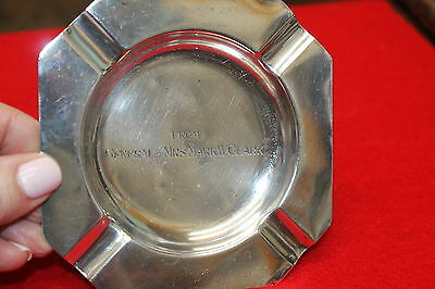 """Vintage Sterling .950 """"from General And Mrs. Mark W. Clark"""" Ashtray Some Dings"""
