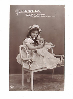 Vintage RP Postcard.Little Mother.Child with doll.Posted 1911