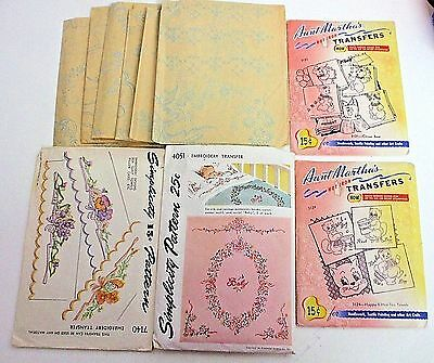 Lot of 10 Vintage Embroidery Transfer Patterns - Simplicity, Martha's+ UNCUT