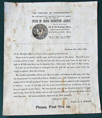Maine Recruiting Agency orig 1864 Civil War Draftee Substitutes Poster