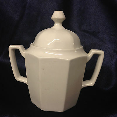 "Grindley Ascot Covered Sugar Bowl 5 1/2"" Octagonal All White"