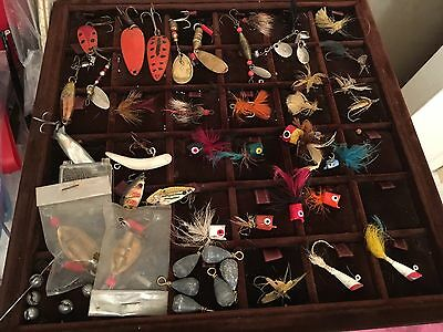 VNTG Fly Fishing LOT~@37 PCS MOST HAND PAINTED WOOD w DAISY FLY BOX HOLDER