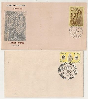 2 Covers  Nepal Kathmandu. First Day Issue. 1969 And 1979. L718