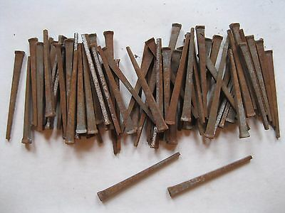 "Vintage Square Cut Steel Nails 2 1/2"" inch Primitive Some Rust  Lot of 70"