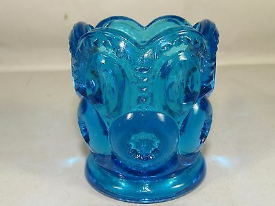 Blue LE Smith Glass Moon Stars Toothpick Votive Candle Holder #102 Free USA Ship