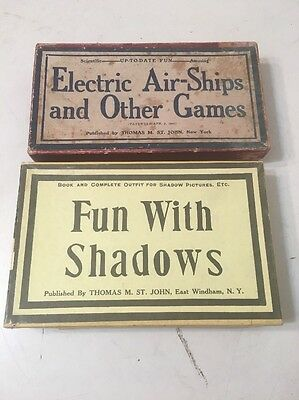 Two Antique Children's Games Fun With Shadows Electric Air Ships St. John 1900's