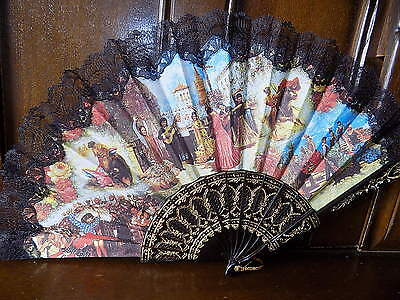 COLLECTABLE  vintage spanish souvenir lace trim folding hand fan