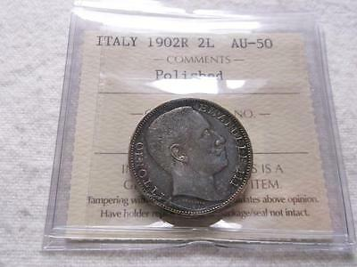 Italy 2 Lire 1902 Iccs Pro-Graded Au-50 Scarce Coin Y874