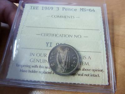 Ireland 3 Pence 1949 Iccs Pro-Graded Ms-64    Z188