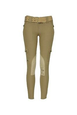 6 HKM TWILL CONTRAST STITCHED BREECHES UK SIZE 8 // 24 CHOCOLATE SALE