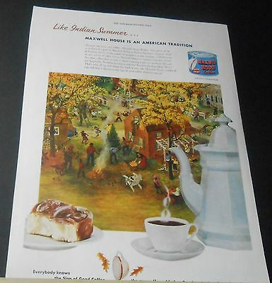 1951 Maxwell House Coffee Like Indian Summer American Tradition vintage print Ad