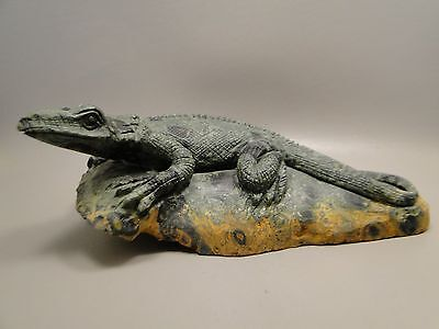 Carved Lizard Figurine Kabamba Jasper Gemstone Animal Carving Rock 7.5 inch #244