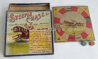 1890 antique victorian STEEPLE CHASE BOARD GAME singer horse racing equestrian