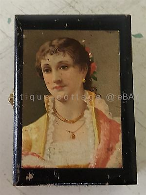 antique CHAS. S. HIGGINS WOOD advertising BOX soap ornamental victorian girl