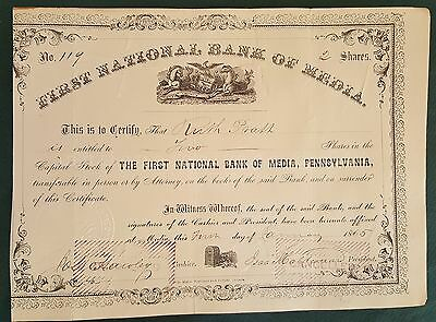 1865 antique FIRST NATIONAL BANK OF MEDIA pa STOCK SHARE CERTIFICATE ruth pratt