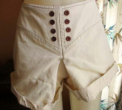 "24"" Waist sz 6 True Vtg 60s WHITE COTTON MOD BEIGE Womens HOT SHORTS"