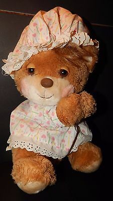 "Vintage Fisher Price Teddy Beddy Betsy Bear Plush 11"" Heart Nightgown & Hat HTF"