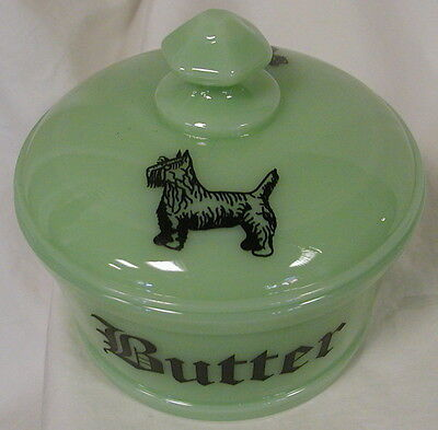 Jade Jadeite Jadite Milk Green Glass Round Covered Butter Dish Tub Scottie Dogs