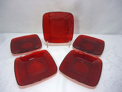 Royal Ruby Red Glass Square Saucers Set of Five Anchor Hocking Charm Shape