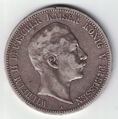 Germany States Prussia 1893 A 5 Mark Wilhelm Ii Imperial Eagle .900 Silver Coin