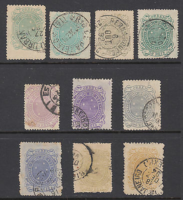Brazil 99//108 Used 1890-91 Southern Cross Issues With Shades 10 Diff SCV $46.50