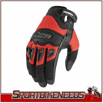 Icon Twenty-Niner Red Black Leather Gloves New S Small