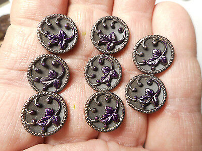 """Matching Lot 8 Victorian Antique Purple Tinted Brass Flower Buttons 9/16"""" RS"""