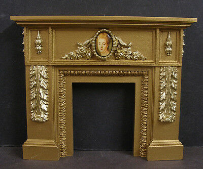 CARVED  FIREPLACE ~ 1:12  scale ~ 2 Tone Gold ~ MARIE ANTOINETTE ~ Dollhouse