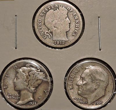 Silver Dimes - Type Set of 3 - 1912 / 1935 / 1961 - $1 Unlimited Shipping -Y64