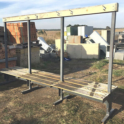 Industrial Locker Room Double Sided Change Bench With Hanging Rack