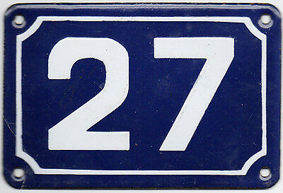 Cute little blue French house number 27 door gate plate plaque enamel metal sign