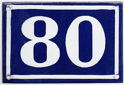 Old blue French house door number 80 door gate plate plaque enamel metal sign