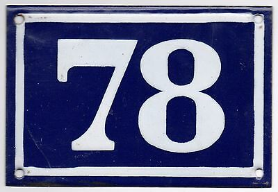 Old blue French house number 78 door gate plate plaque enamel metal sign steel