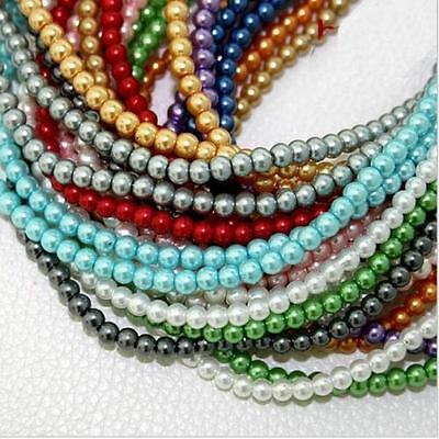 100Pcs Round Glass Pearl Beads For DIY Necklace Bracelet Jewelry Making 4/6/8 mm